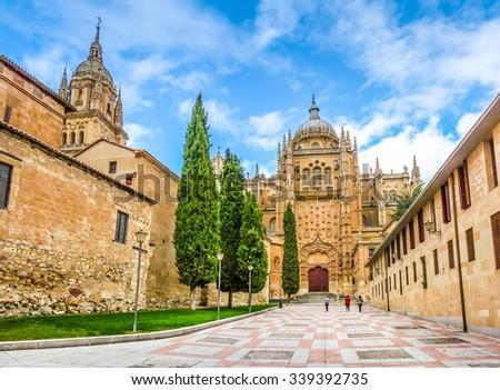 Beautiful view of Cathedral of Salamanca, Castilla y Leon region, Spain - stock photo
