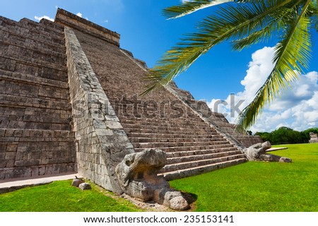 Beautiful view of Chichen Itza monument in Mexico during summer - stock photo