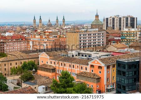 Beautiful view of city Zaragoza, Spain. - stock photo