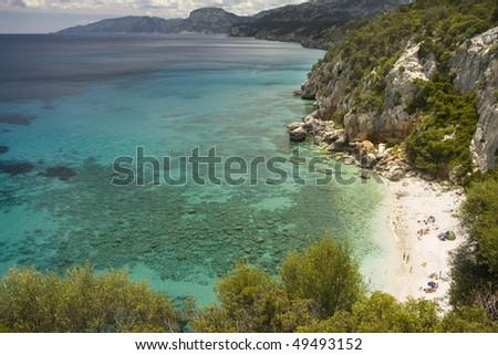 Beautiful view of coastline in summertime - Dorgali, Sardegna Island, Italy. - stock photo