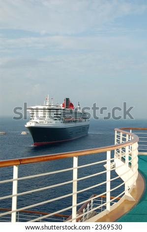 Beautiful view of cruiseship from balcony - stock photo