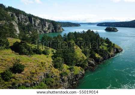 Beautiful view of deception pass state park, whidbey island, washington, usa