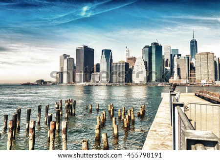 Beautiful view of Downtown buildings, New York City.
