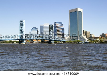 Beautiful view of downtown Jacksonville, Florida across the St. Johns River. - stock photo