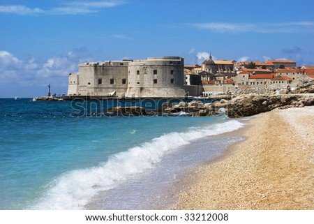 Beautiful view of Dubrovnik, an old city on the Adriatic Sea coast - stock photo