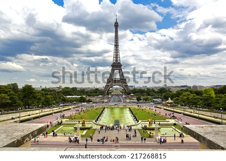Beautiful view of Eiffel Tower from the Trocadero - stock photo