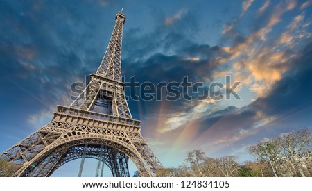Beautiful view of Eiffel Tower in Paris. - stock photo