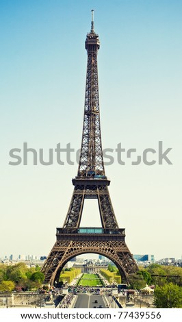 Beautiful view of Eiffel tower, Paris, France - stock photo