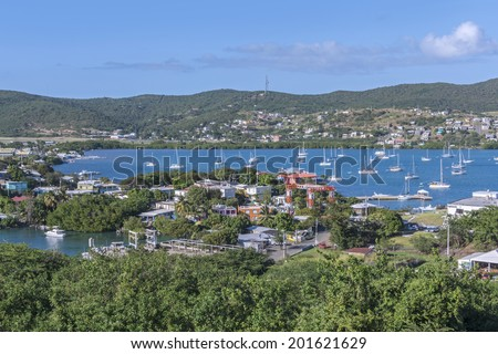 Beautiful view of Ensenada Honda bay and town of Dewey on Puerto Rican island of Isla Culebra in the Caribbean Sea - stock photo