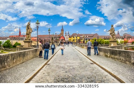 Beautiful view of famous Alte Mainbrucke the historic city of Wurzburg on a sunny day, region of Franconia, Northern Bavaria, Germany - stock photo
