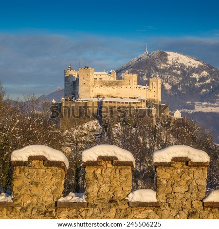 Beautiful view of famous Hohensalzburg Fortress at sunset in winter, Salzburg, Salzburger Land, Austria - stock photo
