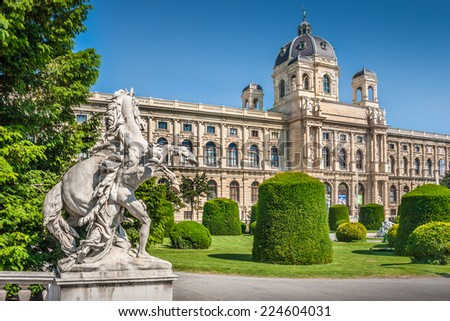 Beautiful view of famous Naturhistorisches Museum (Natural History Museum) with park and sculpture in Vienna, Austria - stock photo