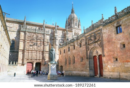 Beautiful view of famous University of Salamanca, the oldest university in Spain and one of the oldest in Europe, in Salamanca, Castilla y Leon region, Spain  - stock photo