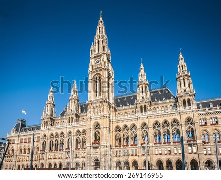 Beautiful view of famous Wiener Rathaus (town hall) in morning light with blue sky, Vienna, Austria - stock photo