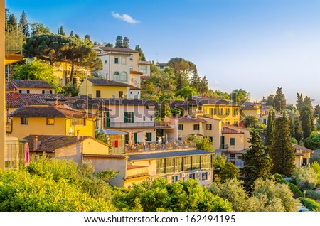 Beautiful view of Fiesole, Florence, Italy. - stock photo