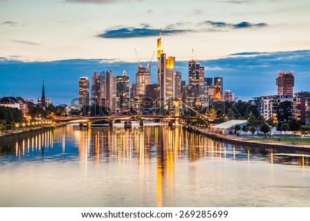 Beautiful view of Frankfurt am Main skyline at sunset, Germany - stock photo