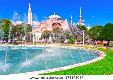 Beautiful view of  Hagia Sophia in Istanbul, Turkey - stock photo