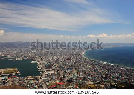 Beautiful View of Hakodate City, Hokkaido, Japan - stock photo
