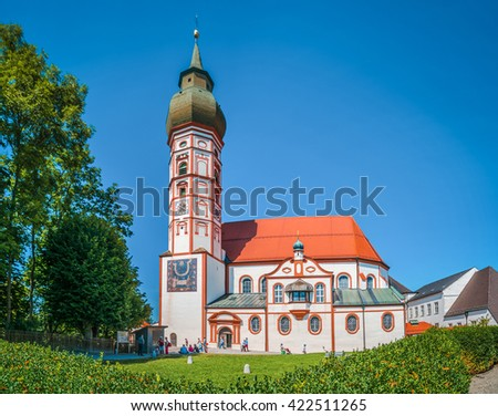 Beautiful view of historic Andechs Abbey in summer on a sunny day, district of Starnberg, Upper Bavaria, Germany - stock photo