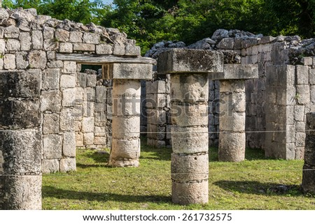 Beautiful view of historic Mayan Building. Traveling through Quintana Roo. - stock photo
