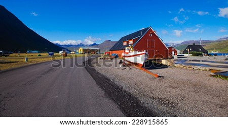 Beautiful view of icelandic city in Iceland, isafjordur, reykjavik, keflavik, husavik, vik - stock photo