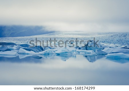 Beautiful view of icelandic glacier and glacier lagoon - stock photo