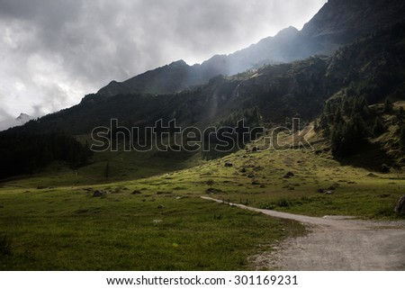 Beautiful view of idyllic summer landscape in the Alps