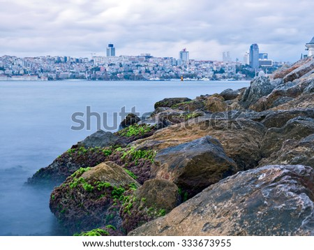 Beautiful view of Istanbul with long exposure shot in Bosphorus - Istanbul.