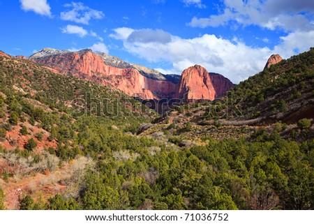Beautiful view of Kolob Finger Canyons at Zion Canyon National Park, Utah. - stock photo