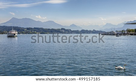 Beautiful view of Lake Lucerne and the mountains, Lucerne, Switzerland.
