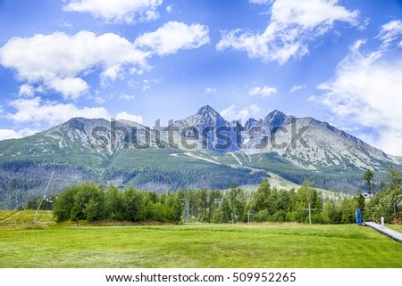 Beautiful view of Lomnicky Stit in the National Park High Tatra, Slovakia panorama