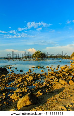 Beautiful view of lonely remote island with rock beach and tree when the sea water receded in blue sky and cloudy day background
