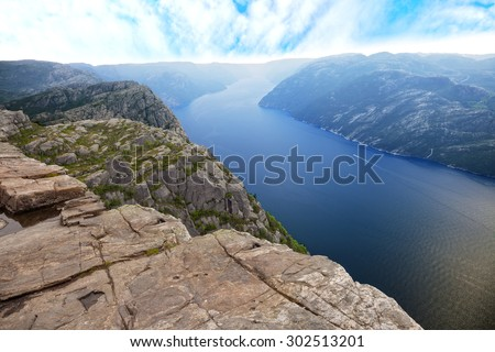Beautiful view of Lysefjord view from Preikestolen cliff in Norway. - stock photo