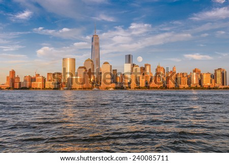 Beautiful view of Manhattan at sunset from Jersey City - stock photo