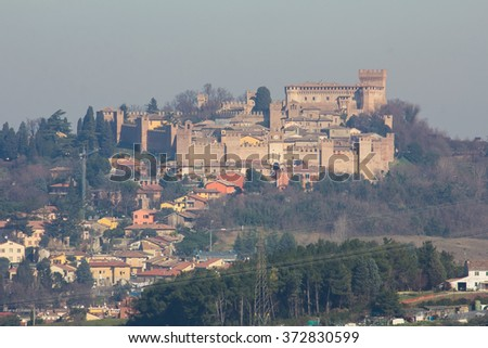 Beautiful view of medieval Castle of Gradara in Marche region of Italy.