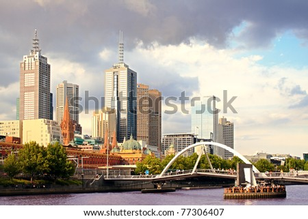 Beautiful view of Melbourne city at sunset - stock photo