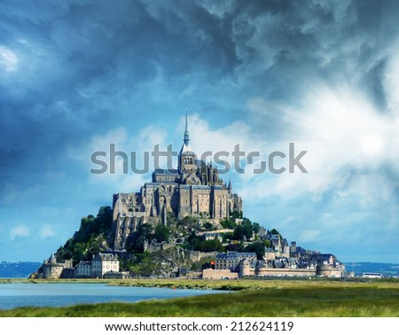 Beautiful view of Mont Saint Michel in Normandie, France. - stock photo