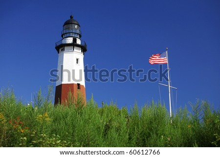 Beautiful view of Montauk point lighthouse at summer time