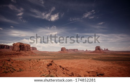Beautiful view of Monument Valley in Utah and Arizona - stock photo