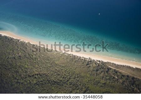 beautiful view of moreton island shoreline in Queensland, Australia - stock photo