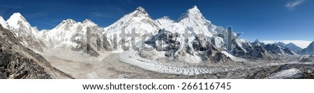 Beautiful view of mount Everest, Lhotse and nuptse from Pumo Ri base camp - way to Everest base camp - Nepal - stock photo