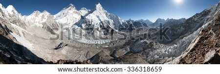 Beautiful view of mount Everest, Lhotse and nuptse from Pumo Ri base camp - way to Everest base camp, Khumbu valley, Sagarmatha national park, Nepal  - stock photo
