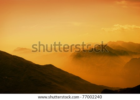 Beautiful view of mountains During the spring leave change - stock photo