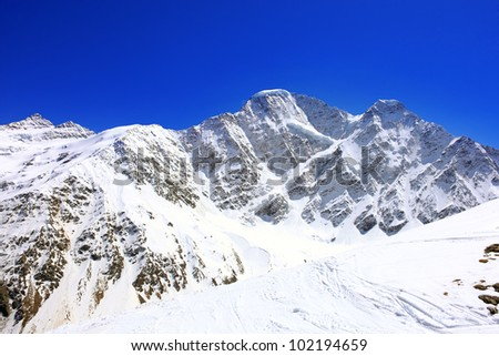 Beautiful view of mountains in the Elbrus area. Panorama - stock photo