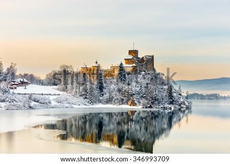 Beautiful view of Niedzica Castle, Poland - stock photo