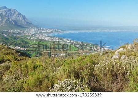 Beautiful view of ocean in Hermanus, South Africa  - stock photo