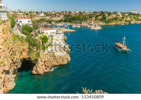 Beautiful view of old harbor in Antalya, Turkey - stock photo