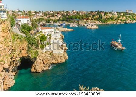 Beautiful view of old harbor in Antalya, Turkey - stock photo