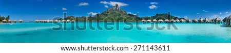 Beautiful view of Otemanu mountain on Bora Bora island. Wide panorama perfect fpr banner - stock photo