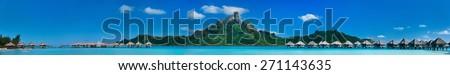 Beautiful view of Otemanu mountain on Bora Bora island. Wide panorama perfect fpr banner - stock photo